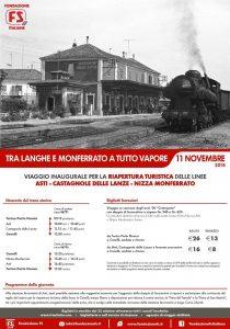 Locandina del Treno storico a Vapore tra Torino e Canelli